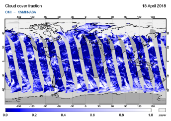 OMI - Cloud cover fraction of 18 April 2018