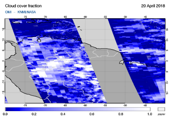 OMI - Cloud cover fraction of 20 April 2018