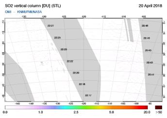 OMI - SO2 vertical column of 20 April 2018