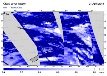 OMI - Cloud cover fraction of 21 April 2018