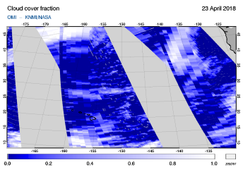 OMI - Cloud cover fraction of 23 April 2018