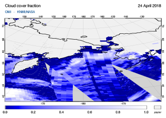 OMI - Cloud cover fraction of 24 April 2018