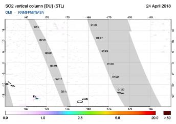 OMI - SO2 vertical column of 24 April 2018