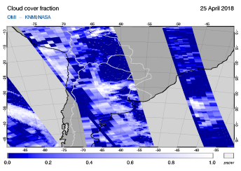 OMI - Cloud cover fraction of 25 April 2018