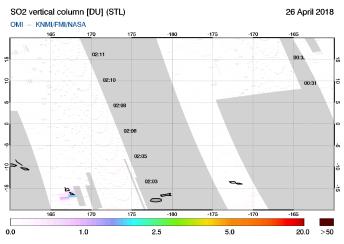 OMI - SO2 vertical column of 26 April 2018