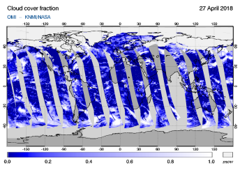 OMI - Cloud cover fraction of 27 April 2018