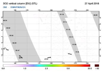 OMI - SO2 vertical column of 27 April 2018