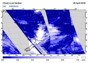 OMI - Cloud cover fraction of 28 April 2018