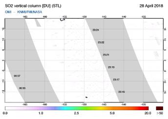 OMI - SO2 vertical column of 28 April 2018