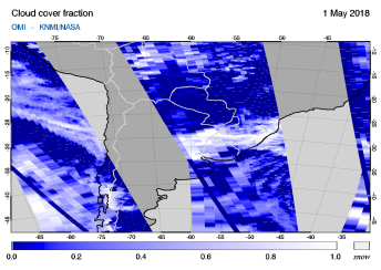 OMI - Cloud cover fraction of 01 May 2018
