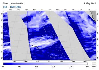 OMI - Cloud cover fraction of 02 May 2018