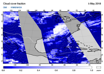 OMI - Cloud cover fraction of 05 May 2018