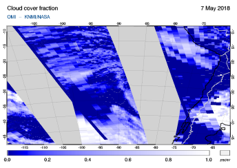 OMI - Cloud cover fraction of 07 May 2018