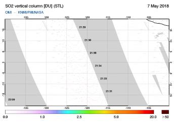 OMI - SO2 vertical column of 07 May 2018