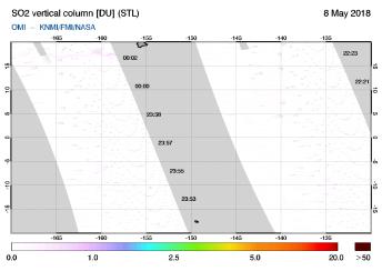 OMI - SO2 vertical column of 08 May 2018