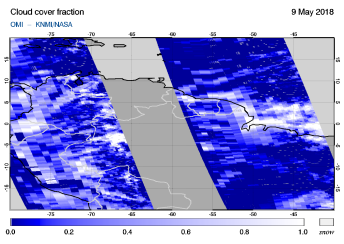 OMI - Cloud cover fraction of 09 May 2018
