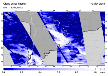 OMI - Cloud cover fraction of 10 May 2018