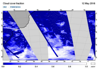 OMI - Cloud cover fraction of 12 May 2018