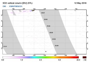 OMI - SO2 vertical column of 12 May 2018