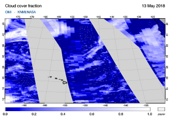 OMI - Cloud cover fraction of 13 May 2018
