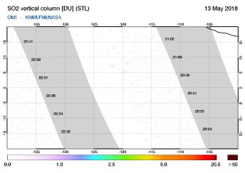 OMI - SO2 vertical column of 13 May 2018