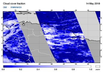 OMI - Cloud cover fraction of 14 May 2018
