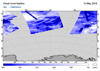 OMI - Cloud cover fraction of 15 May 2018