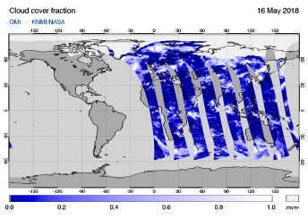 OMI - Cloud cover fraction of 16 May 2018