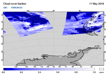 OMI - Cloud cover fraction of 17 May 2018