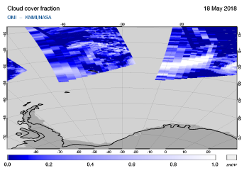 OMI - Cloud cover fraction of 18 May 2018