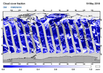 OMI - Cloud cover fraction of 19 May 2018