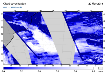 OMI - Cloud cover fraction of 20 May 2018