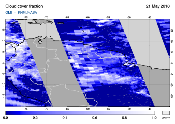 OMI - Cloud cover fraction of 21 May 2018