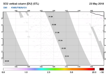 OMI - SO2 vertical column of 23 May 2018