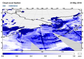 OMI - Cloud cover fraction of 24 May 2018