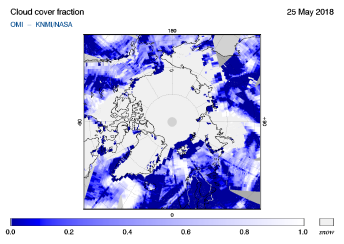 OMI - Cloud cover fraction of 25 May 2018