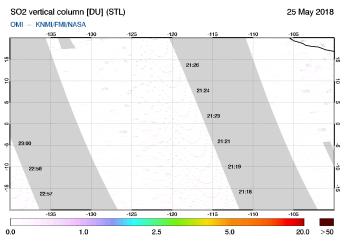 OMI - SO2 vertical column of 25 May 2018