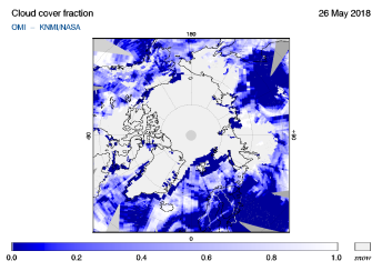 OMI - Cloud cover fraction of 26 May 2018