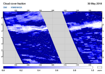 OMI - Cloud cover fraction of 30 May 2018