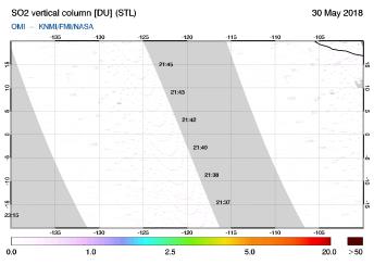 OMI - SO2 vertical column of 30 May 2018