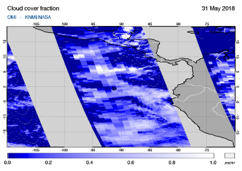 OMI - Cloud cover fraction of 31 May 2018