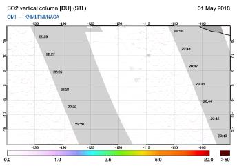 OMI - SO2 vertical column of 31 May 2018