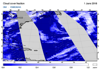 OMI - Cloud cover fraction of 01 June 2018