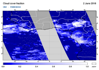 OMI - Cloud cover fraction of 02 June 2018