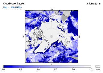 OMI - Cloud cover fraction of 03 June 2018