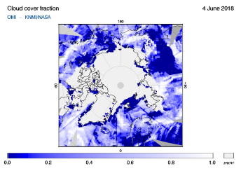 OMI - Cloud cover fraction of 04 June 2018