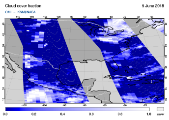 OMI - Cloud cover fraction of 05 June 2018