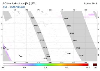 OMI - SO2 vertical column of 06 June 2018