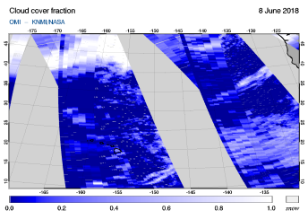 OMI - Cloud cover fraction of 08 June 2018