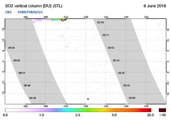 OMI - SO2 vertical column of 08 June 2018